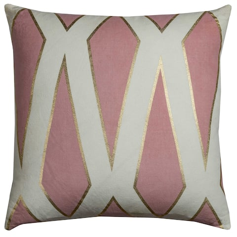 f3398e12bc8b0 Rachel Kate by Rizzy Home Geometric Pink Cotton 20-inch Square Throw Pillow