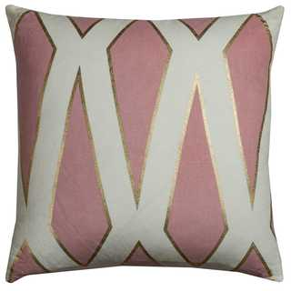 Rachel Kate by Rizzy Home Geometric Pink Cotton 20-inch Square Throw Pillow