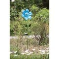 Sunjoy Blue Glass Flower Garden Stake with LED Solar Technology, 42 Inches