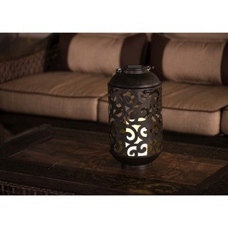 Sunjoy LED Solar Metal Lantern with Antique Bronze Finish and Natural Rope Handle, 13.5 Inches
