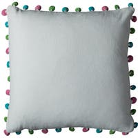 Rizzy Home Poms 18 x 18 Ivory Cotton Decorative Filled Throw Pillow