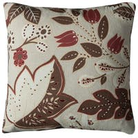 Rizzy Home Off-white Cotton 20 x 20 Floral Decorative Throw Pillow