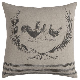 Rizzy Home Rooster Off-white Cotton 20-inch x 20-inch Decorative Throw Pillow