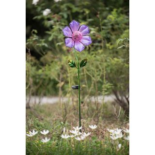 Sunjoy Purple Glass Flower Garden Stake with LED Solar Technology, 42 Inches