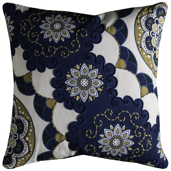 Rizzy Home Floral Pattern Blue and Off-white Cotton 20-inch Square Pillow