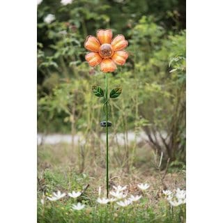 Sunjoy Orange Glass Flower Garden Stake with LED Solar Technology, 42 Inches