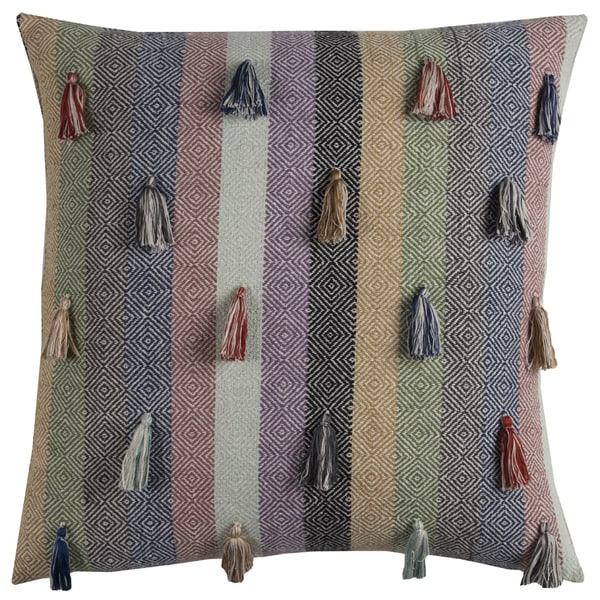 Rizzy Home Multicolored Cotton 20-inch x 20-inch Decorative Striped Throw Pillow with Tassles Across Front