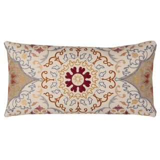 Rizzy Home Beige Medallion Cotton-filled Decorative Throw Pillow