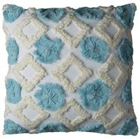 Rizzy Home Abstract Geometric Ivory Cotton 20-inch Square Throw Pillow