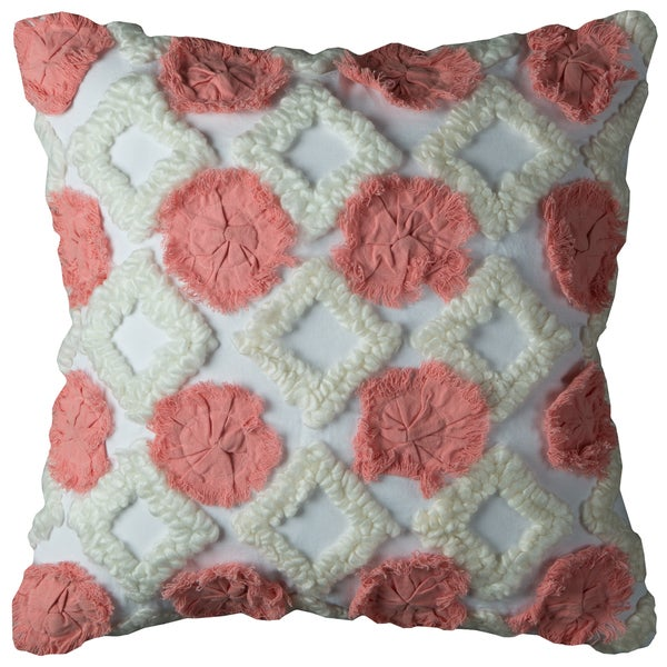 Rizzy Home Abstract Geometric Ivory Cotton Decorative Filled 20 x 20 Throw Pillow