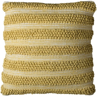 Rizzy Home Gold-colored Cotton 20-inch x 20-inch Striped Decorative Throw Pillow