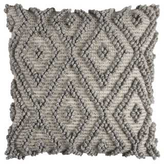 Rizzy Home Cotton 20-inch x 20-inch Diamond Canvas Duck Back Wool Front Decorative Filled Throw Pillow