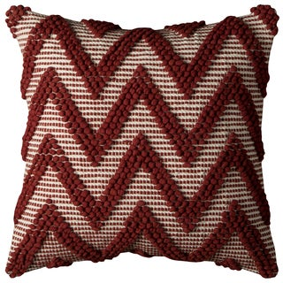 Rizzy Home Red Chevron Texture Cotton 20-inch x 20-inch Decorative Filled Throw Pillow