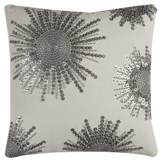 Rizzy Home Starburst Beaded Textural Natural Cotton 20-inch x 20-inch Decorative Filled Throw Pillow