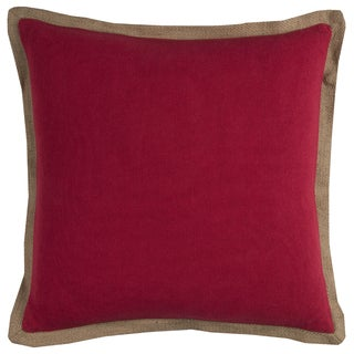 Rizzy Home Solid Red Cotton and Jute 22-inch Square Throw Pillow