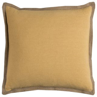 Rizzy Home Solid Yellow Cotton/Jute Decorative Filled 22 x 22 Throw Pillow