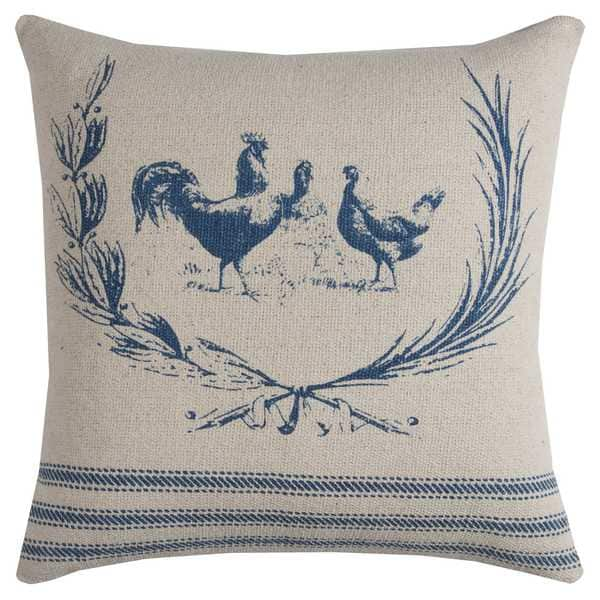 Rizzy Home Rooster Natural Cotton 20-inch x 20-inch Decorative Filled Throw Pillow