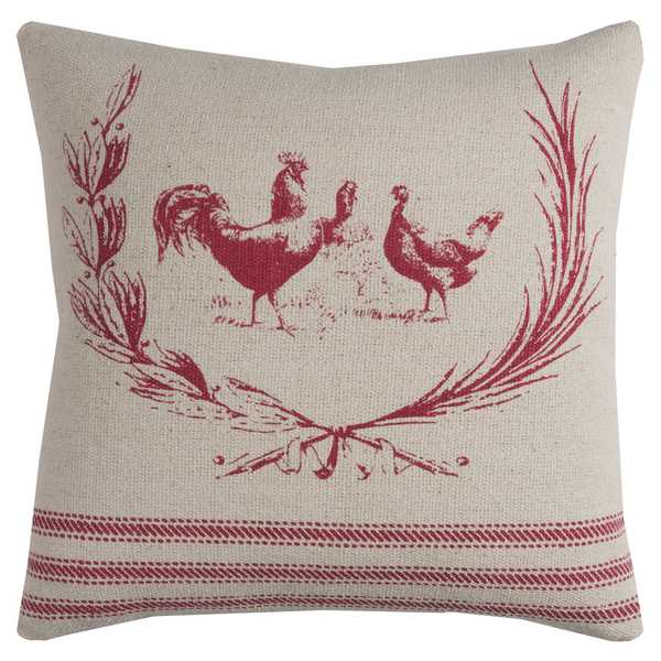 Rizzy Home Rooster Cotton 20-inch x 20-inch Decorative Filled Throw Pillow