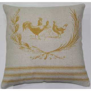 Rizzy Home Rooster Off-white Cotton 20-inch Throw Pillow