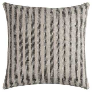 Rizzy Home Ticking Stripe Off-white Cotton 20-inch Square Throw Pillow