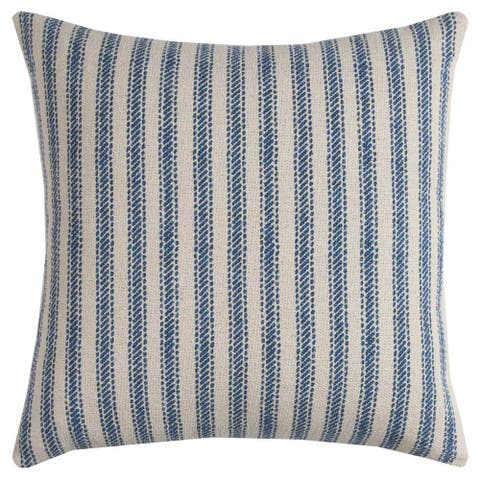 Rizzy Home Off-white/Blue Cotton 20-inch Ticking-striped Throw Pillow