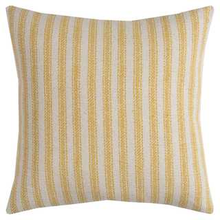 Rizzy Home Multicolored Cotton Ticking Stripe Square Decorative Throw Pillow