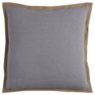 Rizzy Home Grey Cotton and Jute 22-inch Decorative Filled Throw Pillow