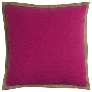 Rizzy Home Pink Cotton/Burlap/Jute 22-inch x 22-inch Solid Decorative Filled Throw Pillow