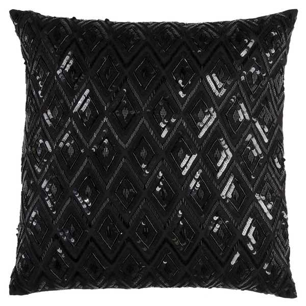 Rizzy Home Black Cotton Diamond Sequence Throw Pillow