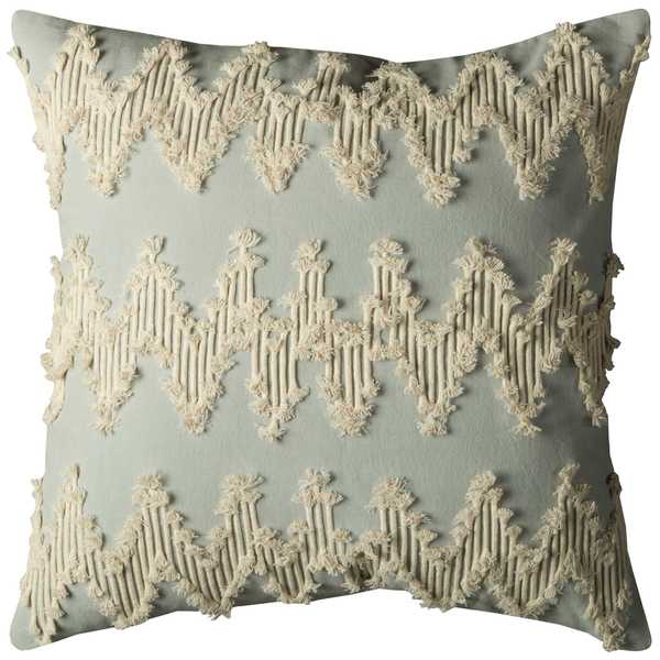 Rizzy Home Frayed Chevron Off-white Cotton 20-inch Square Throw Pillow