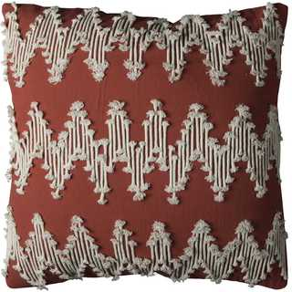 Rizzy Home Frayed Chevron 20-inch x 20-inch Cotton Decorative Filled Throw Pillow