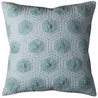 Rizzy Home White Geometric Print Cotton 20 x 20 Throw Pillow