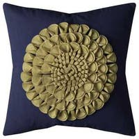 Rizzy Home Floral Motif Navy Blue Cotton 20-inch Decorative Filled Throw Pillow
