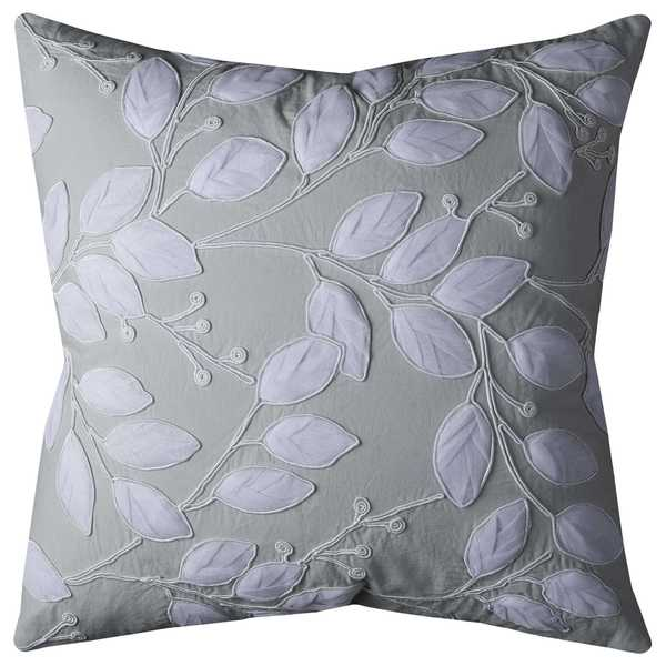 Rizzy Home Botanical Applique Mint and Off-white Cotton 20-inch Cotton Decorative Filled Throw Pillow