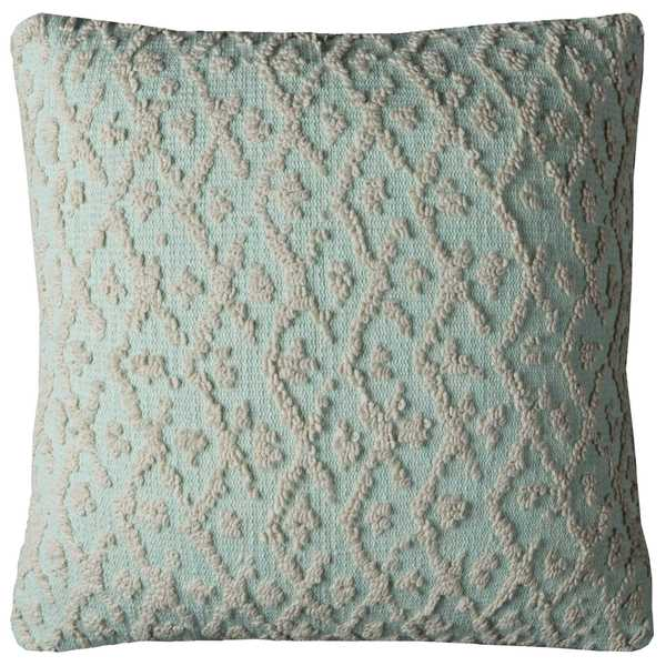 Rizzy Home Texture Aqua and Off-white Cotton 20-inch Square Throw Pillow
