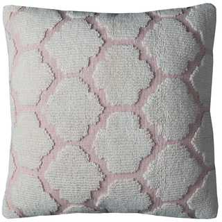 Rizzy Home Hexagon Pink and Off-white Cotton 20-inch Decorative Filled Throw Pillow