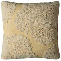 Rizzy Home Medallion Yellow Cotton 20-inch Square Throw Pillow