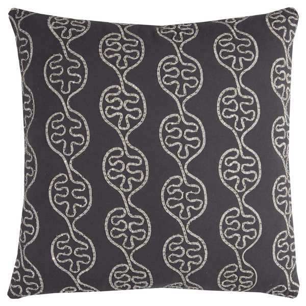 Rizzy Home Leaves in a Line Grey Cotton 20-inch x 20-inch Decorative Filled Throw Pillow