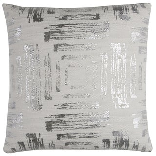 Rizzy Home Textured Foil Print Abstract White and Silver Cotton 20-inch Decorative Filled Throw Pillow