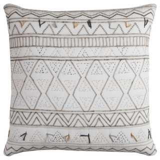 Rizzy Home Tribal Globe Traveler Cotton 22 x 22 Throw Pillow