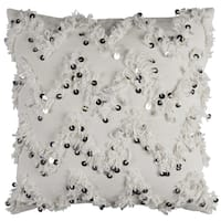 Rizzy Home Cotton 20-inch x 20-inch Fringed Sequined Chevron Textural Decorative Filled Throw Pillow
