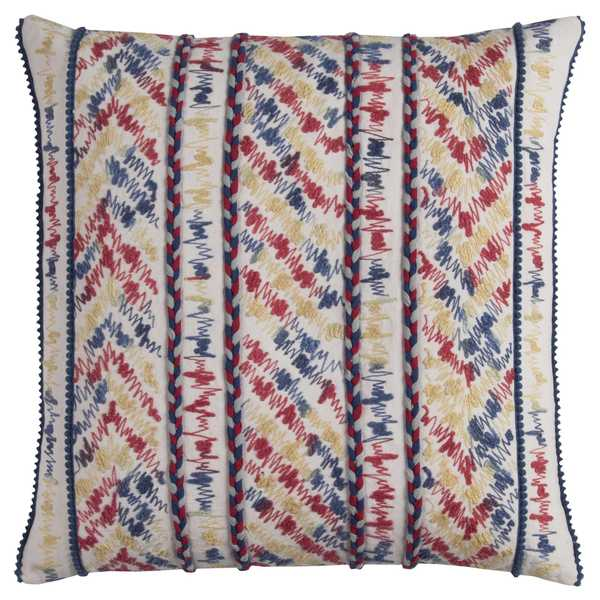 Rizzy Home Cotton 20-inch x 20-inch Threaded Striped Decorative Filled Throw Pillow