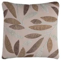 Rizzy Home Leaves Pink Cotton Flax 20 x 20 Throw Pillow