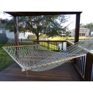 Castaway Yellow and White Polyester Rope Hammock