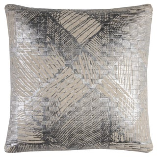 Rizzy Home Cotton 20-inch x 20-inch Textured Foil-print Abstract Decorative Filled Throw Pillow