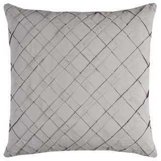 Rizzy Home Off-white Pleated Cross Diagonal Cotton Decorative Throw Pillow