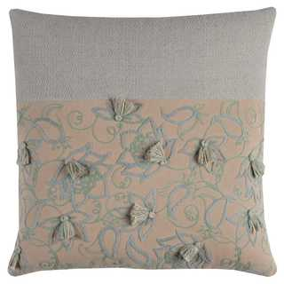 Rizzy Home Blocked with Tassels Cotton Decorative Throw Pillow