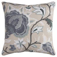 Rizzy Home Floral Beige Cotton 20x20-inch Decorative Filled Throw Pillow