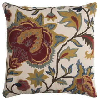 Rizzy Home Floral Multicolored Cotton Filled 20-inch x 20-inch Square Decorative Throw Pillow