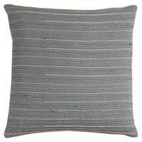 Rizzy Home Stripe Textured Blue and Ivory Cotton 20-inch x 20-inch Decorative Filled Throw Pillow